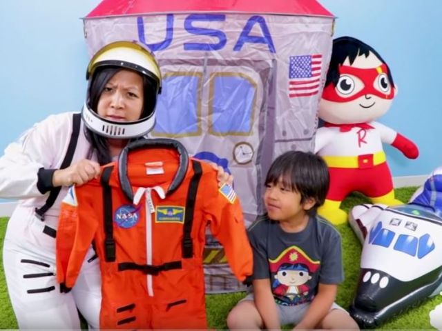 Ryan's family, including his mother also feature in his videos. Pic: YouTube/RyanToysReview