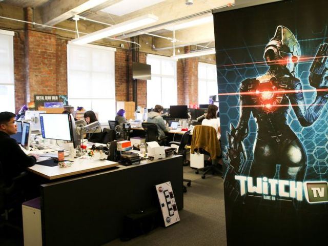 Employees work at the offices of Twitch