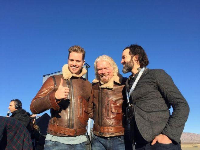 Sir Richard Branson and his son Sam, left, celebrate the successful launch