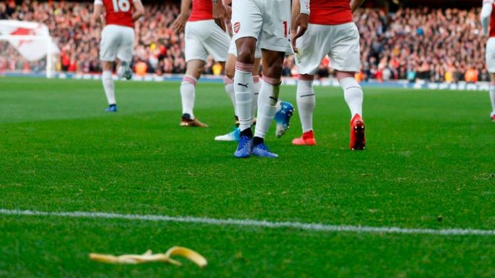 The banana skin was thrown as Arsenal's Aubameyang celebrated the opening goal