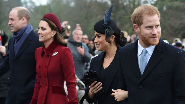 The Duke of Cambridge, the Duchess of Cambridge, the Duchess of Sussex and the Duke of Sussex arriving to attend the Christmas Day morning church service at St Mary Magdalene Church in Sandringham, Norfolk. PRESS ASSOCIATION Photo. Picture date: Tuesday December 25, 2018. See PA story ROYAL Queen. Photo credit should read: Joe Giddens/PA Wire