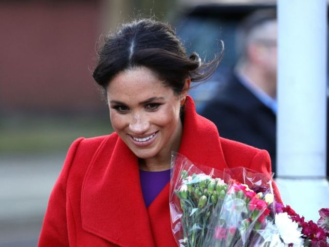 The Duchess of Sussex on a walkabout as she visits a new sculpture in Hamilton Square to mark the 100th anniversary of war poet Wilfred Owen...s death, during a visit to Birkenhead. PRESS ASSOCIATION Photo. Picture date: Monday January 14, 2019. See PA story ROYAL Sussex. Photo credit should read: Aaron Chown/PA Wire