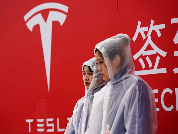 A Tesla logo is seen at a groundbreaking ceremony of Tesla Shanghai Gigafactory in Shanghai, China January 7, 2019.