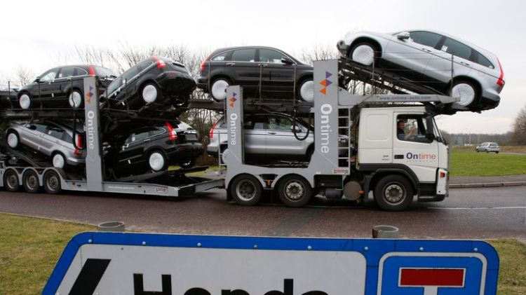 Hundred of lorries deliver parts from the EU to the plant each day