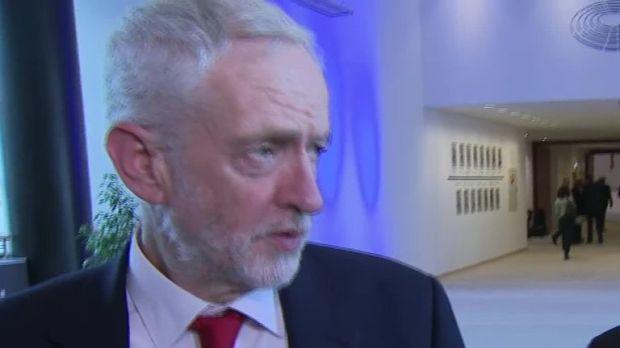 Jeremy Corbyn speaks to Sky News in Brussels