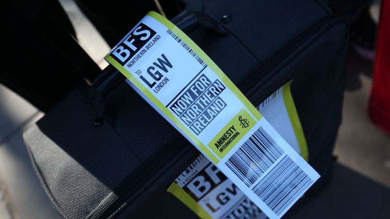 A luggage tag on a suitcase, symbolising the women who travel from Northern Ireland to Great Britain for terminations