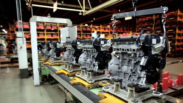Engines assembly line at Ford's Bridgend plant, South Wales