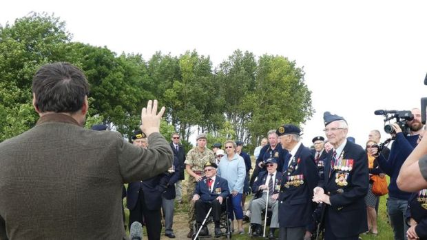Veterans visit the site of the proposed construction. Pic: Normandy Memorial Trust