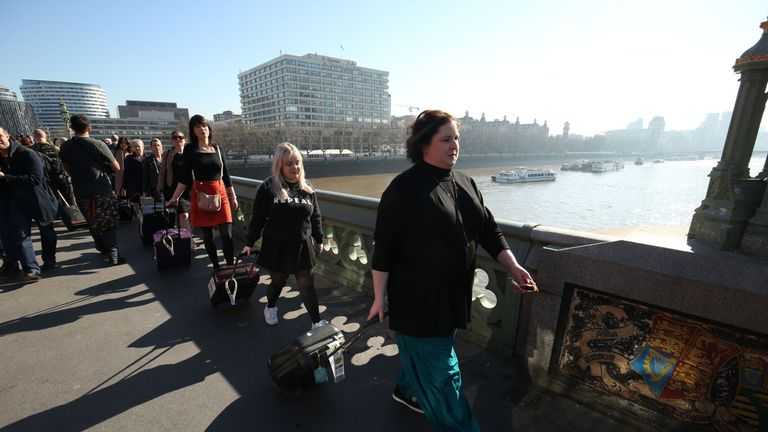 Siobhan McSweeney (right) and Nicola Coughlan carried suitcases with the petitions inside