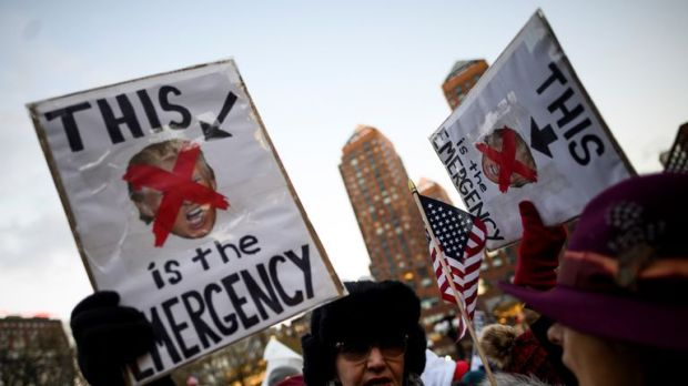 Demonstrators in New York protested against the state of emergency on Presidents Day on Monday