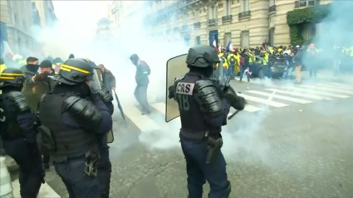 Riot police have clashed with protesters