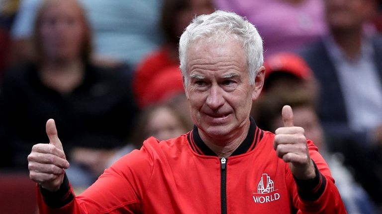 John McEnroe during their Men's Singles match on day one of the 2018 Laver Cup at the United Center on September 21, 2018 in Chicago, Illinois.
