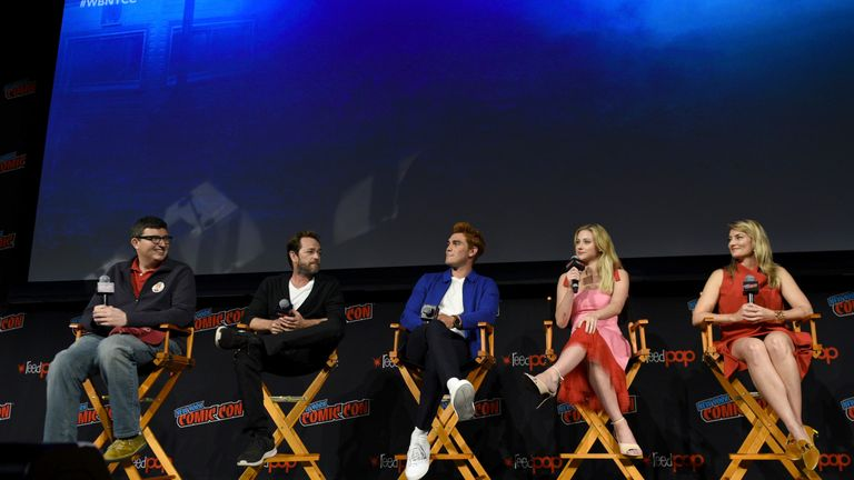 Luke Perry with Riverdale co-stars