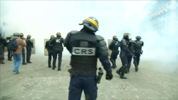 Civil enforcement officers have deployed gas canisters
