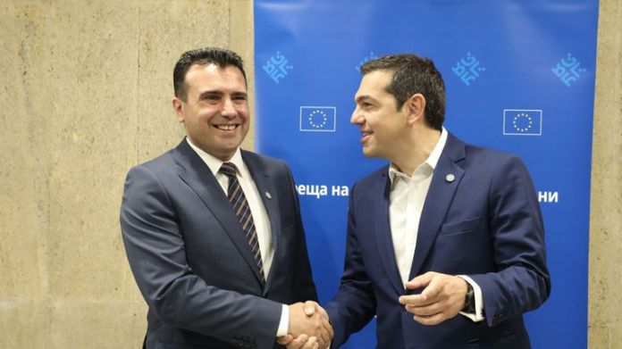 The acting Prime Minister of the Republic of North Macedonia, Zoran Zaev, agreed with Greek leader Alexis Tsipras (right) on a compromise