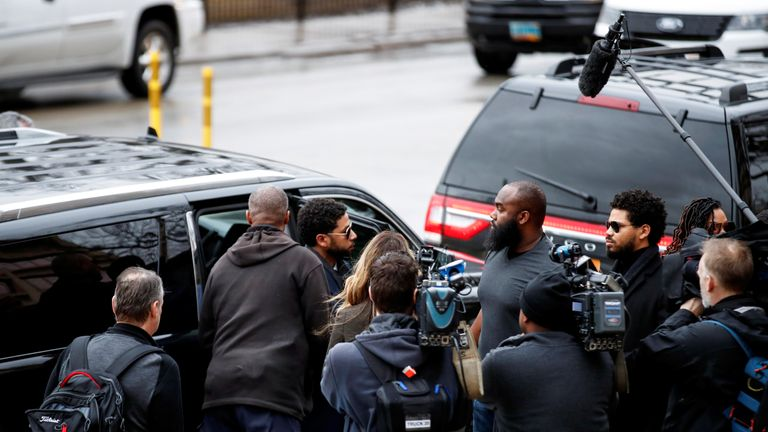 Jussie Smollett arrives at court in Chicago