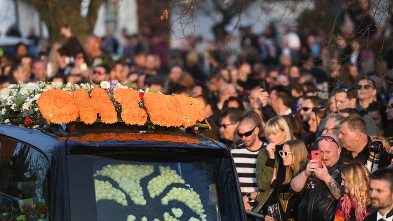 Fans of Keith Flint at the late singer's funeral at St Mary's Church in Bocking, Essex
