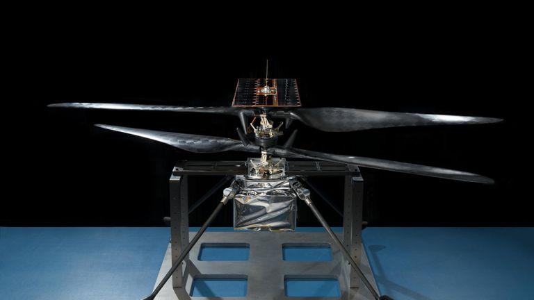 NASA's Mars Helicopter in a cleanroom at NASA's Jet Propulsion Laboratory in Pasadena, California