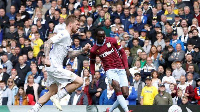 Aston Villa's Albert Adomah scores their first goal
