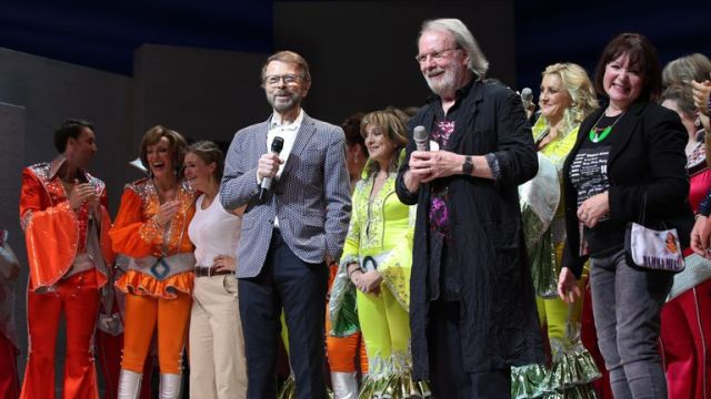 Super troupers: Bjorn Ulvaeus (left) and Benny Andersson appear on stage with Mamma Mia cast members