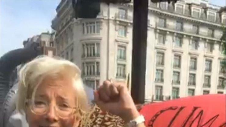 Actor and environmentalist Emma Thompson was at the Extinction Rebellion protest in Marble Arch.