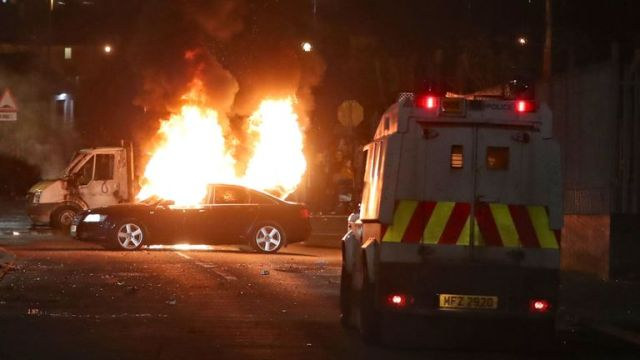 hijacked vehicles one fire in Creggan, Londonderry. PRESS ASSOCIATION Photo. Picture date: Thursday April 18, 2019. Photo credit should read: Niall Carson/PA Wire