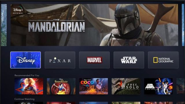 The new interface of Disney+. Pic: Disney