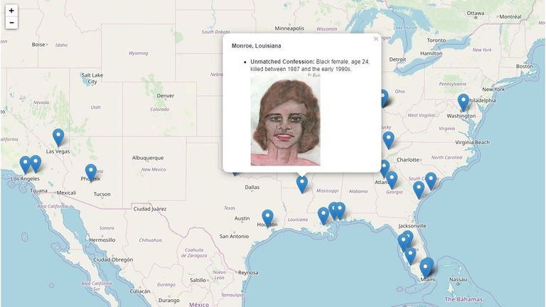 FBI have updated a map with locations of suspected murders and victims