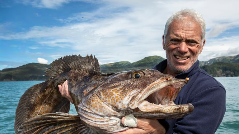 Jeremy Wade holding a Ling Cod in Prince William Sound, Alaska. Pic: Animal Planet