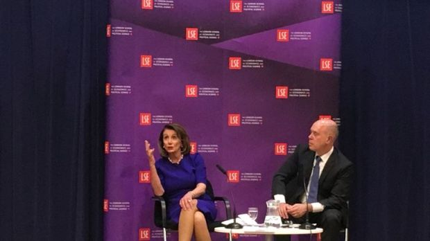 U.S. Speaker of the House of the Representatives Nancy Pelosi speaks at the London School of Economics