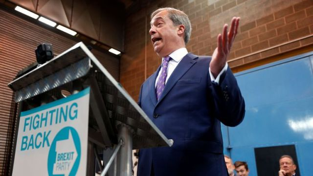 Nigel Farage speaks at the launch of the newly created 'Brexit Party' campaign