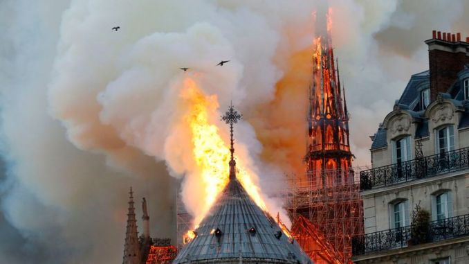 The fire raging at the Parisian cathedral