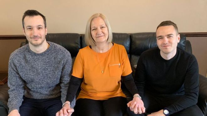 Sally Challen 'at home' with her sons James, left, and David. Pic: Twitter/David Challen