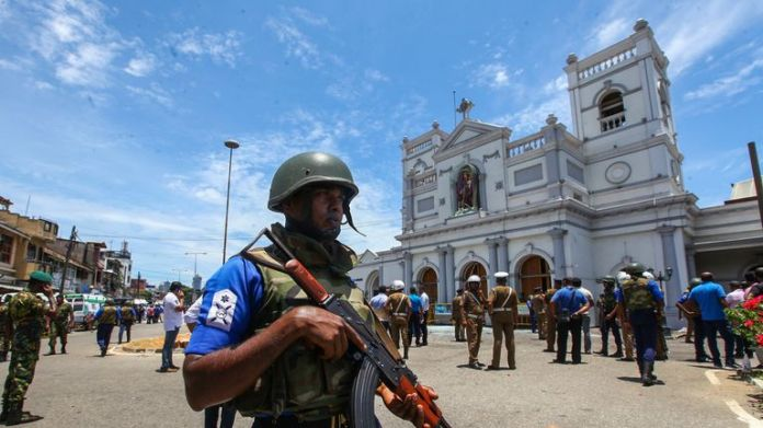 The Sri Lankan security forces secure the area around St. Anthony's Shrine