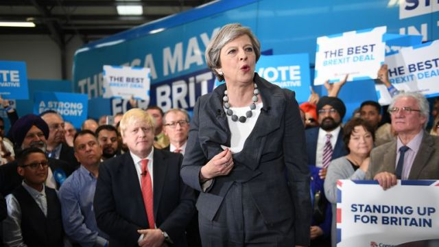 Theresa May gave speeches to rooms of party campaigners in 2017
