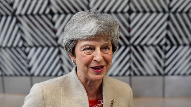 Britain's Prime Minister Theresa May speaks to the press as she arrives for a European Union (EU) summit at EU Headquarters in Brussels on May 28, 2019. (Photo by EMMANUEL DUNAND / AFP)        (Photo credit should read EMMANUEL DUNAND/AFP/Getty Images)