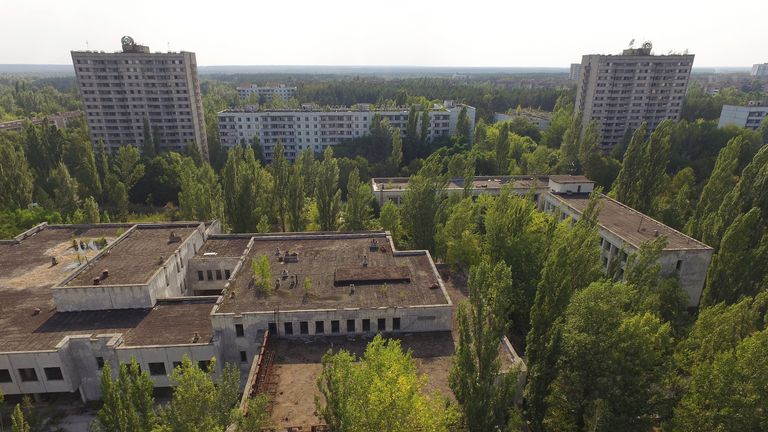 Abandoned buildings in a ghost town near the power plant