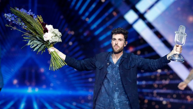 Duncan Laurence of the Netherlands wins the Eurovision Song Contest