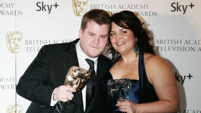 James Corden and Ruth Jones pose at the British Academy Television Awards BAFTA 2008 at The Palladium on April 20, 2008 in London, England.