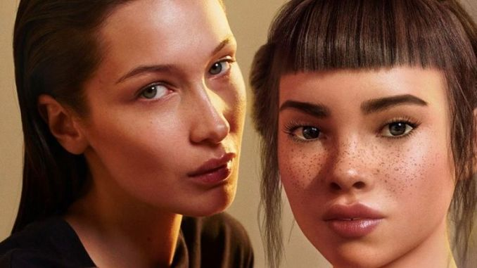 Hadid appears in the ad campain with digital character Lil Miquela. Pic: Instagram/ @lilmiquela
