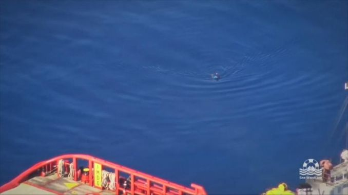 The man was picked up by a private tug boat. Pic: Sea-Watch