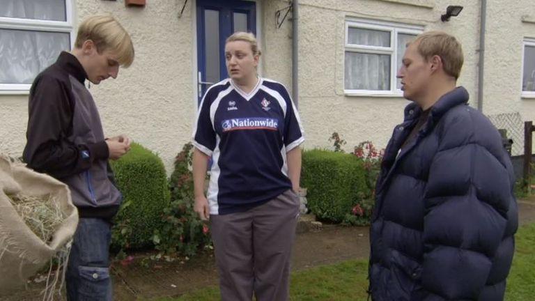 Sleggs (R) stars alongside Charlie (L) and Daisy May Cooper (C). Pic: BBC