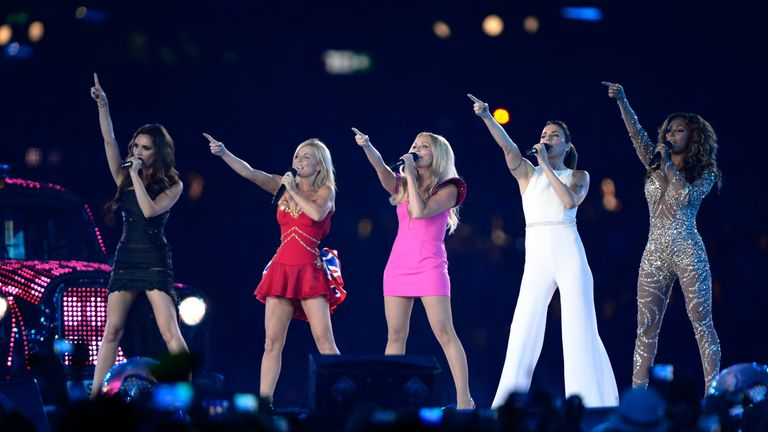 Spice Girls perform during the Closing Ceremony on Day 16 of the London 2012 Olympic Games at Olympic Stadium on August 12, 2012 in London, England.