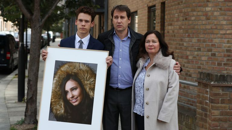 Nadim and Tanya Ednan-Laperouse, with their son Alex, outside West London Coroners Court, following the conclusion of the inquest into the death of Natasha Ednan-Laperouse, 15, from Fulham, who died after she fell ill on a flight from London to Nice after eating a Pret A Manger sandwich at Heathrow Airport.