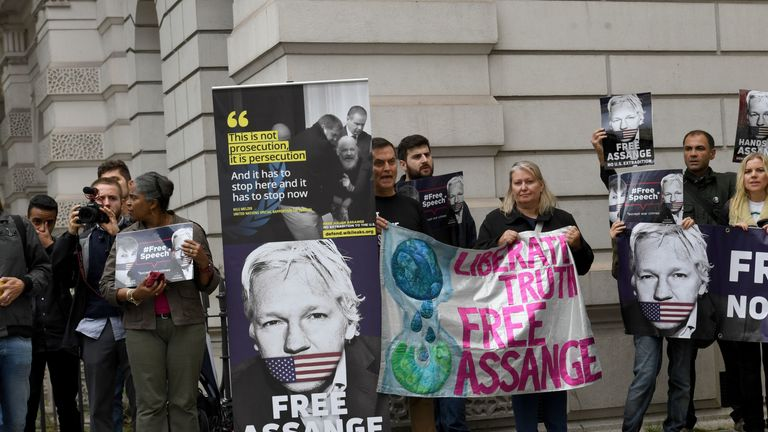 Supporters of Julian Assange outside  Westminster Magistrates' Court in London for the latest extradition case management hearing