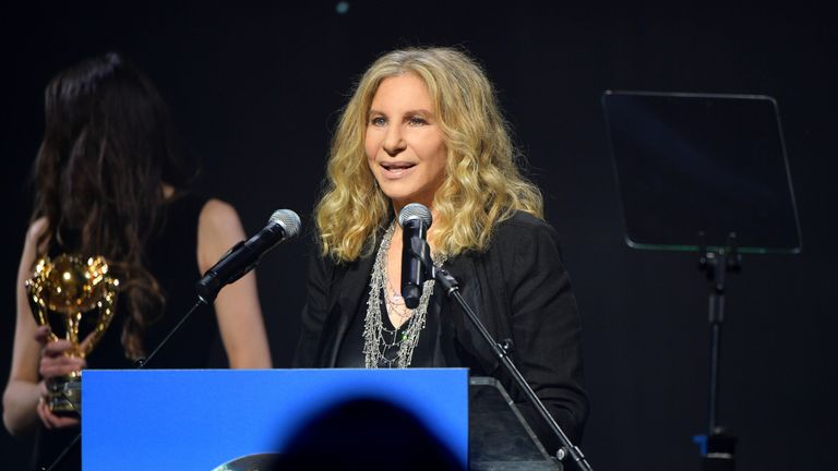 Barbra Streisand accepts her award onstage at the UCLA IoES honors Barbra Streisand and Gisele Bundchen at the 2019 Hollywood for Science Gala on February 21, 2019 in Beverly Hills, California. (Photo by Matt Winkelmeyer/Getty Images for UCLA Institute of the Environment & Sustainability)