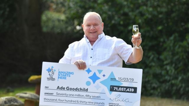 Factory worker Ade Goodchild, 58, won £71m in a EuroMillions draw in March