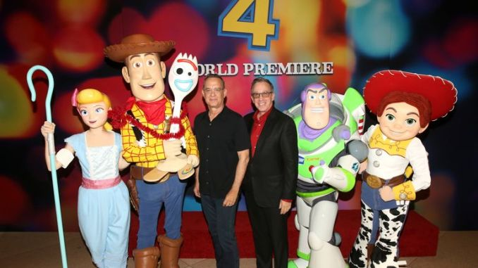 HOLLYWOOD, CA - JUNE 11: Tom Hanks (L) and Tim Allen attend the world premiere of Disney and Pixar's TOY STORY 4 at the El Capitan Theatre in Hollywood, CA on Tuesday, June 11, 2019. (Photo by Jesse Grant/Getty Images for Disney)