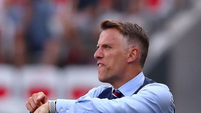 NICE, FRANCE - JULY 06: Philip Neville, Head Coach of England reacts during the 2019 FIFA Women's World Cup France 3rd Place Match match between England and Sweden at Stade de Nice on July 06, 2019 in Nice, France. (Photo by Alex Grimm/Getty Images)