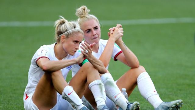 England's Steph Houghton (left) and Alex Greenwood at the end of the FIFA Women's World Cup Third Place Play-Off at the Stade de Nice, Nice.